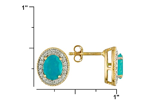 Paraiba Color Ethiopian Opal And White Zircon18k Yellow Gold Over Sterling Silver Stud Earrings