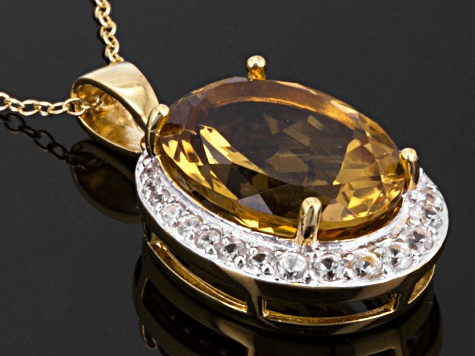 Brown Honey Quartz 18k Gold Over Silver Pendant With Chain 8.81ctw