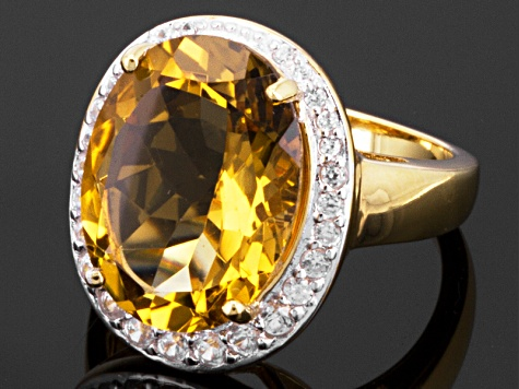 Brown Honey Quartz 18k Yellow Gold Over Silver Ring 8.81ctw