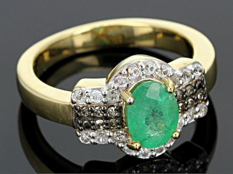 Emerald, White Zircon And Champagne Diamond 18k Gold Sterling Silver Ring .85ctw