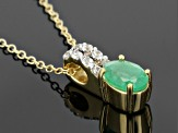 Emerald And Champagne Diamond 18k Gold Sterling Silver Pendant With Chain .77ctw