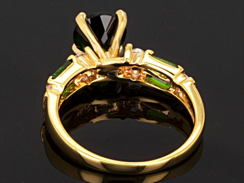 Green Chrome Diopside 18k Gold Over Silver Ring 2.08ctw