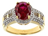 Red Lab Ruby 18k Yellow Gold Over Silver Ring 3.82ctw