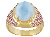 Blue Larimar 18k Gold Over Sterling Silver Ring .73ctw