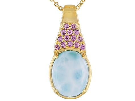 Blue Larimar 18k Gold Over Sterling Silver Pendant With Chain .13ctw