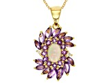 Ethiopian Opal 18k Gold Over Silver Pendant With Chain 2.02ctw