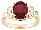 Red Ruby And White Zircon 18k Gold Over Silver Ring 3.91ctw