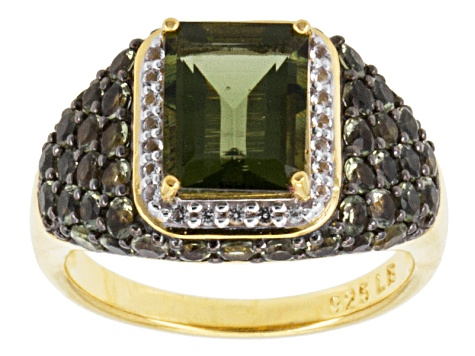 Green Moldavite And White Topaz 18k Yellow Gold Over Silver Ring 2.77ctw