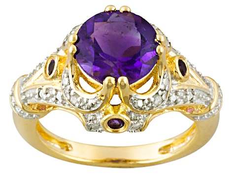 Purple Amethyst 18k Gold Over Silver Ring 1.62ctw