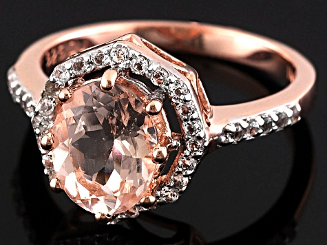 Pink Morganite And White Topaz 18k Rose Gold Over Silver Ring 2.03ctw