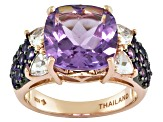 Amethyst And White Topaz 18k Gold Over Silver