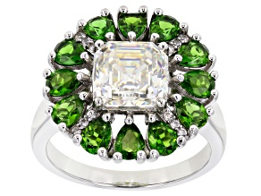 Fabulite Strontium Titanate and chrome diopside with white zircon 10k white gold ring 4.65ctw.