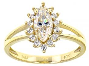 Fabulite Strontium Titanate and white zircon 10k yellow gold ring 1.07ctw.