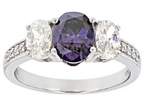 Purple and White Fabulite Strontium Titanate And White Zircon 10k White Gold Ring 2.61ctw.