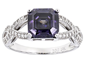 Purple Fabulite Strontium Titanate And White Zircon 10k White Gold Ring 3.51ctw.