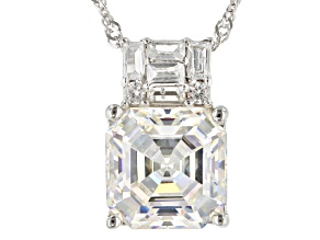 Fabulite Strontium Titanate and white zircon 10k white gold pendant 3.49ctw.