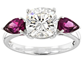 Fabulite Strontium Titanate and rhodolite garnet 10k white gold ring 4.16ctw.