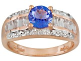 1.66ctw Tanzanite White Topaz Diamond Solid 18kt Rose Gold Over Silver Bridge Ring