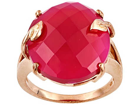 Womens Solitaire Leaf Ring Pink Onyx 9ct 18k Rose Gold Over Silver