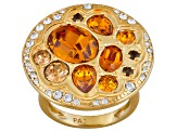 Womens Ring Smoky Quartz Orange Yellow Swarovski Accents 18kt Gold Over Silver