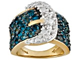 Buckle Ring London Blue And White Topaz 18kt Yellow Gold Over Sterling Silver