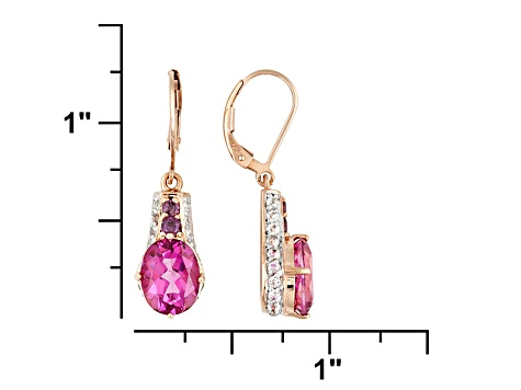 Womens Dangle Earrings Pink White Topaz Purple Garnet 18k Rose Gold Over Silver