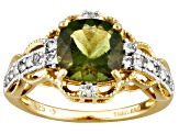 Moldavite And White Topaz 18k Yellow Gold Over Sterling Silver Ring 1.52ctw
