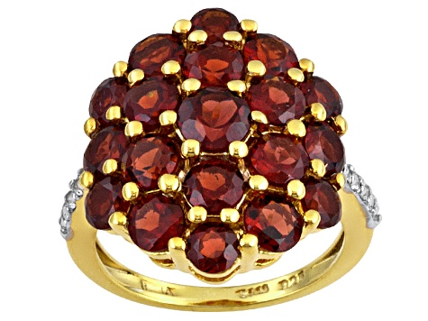Womens Cluster Ring Red Garnet White Topaz 6ctw 18k Gold Over Silver
