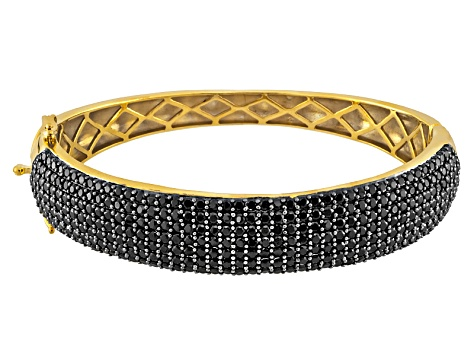 Black Spinel 9.45ctw 18k Yellow Gold Over Silver Hinged Bangle