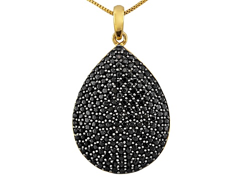 Black Spinel 3.54ctw 18k Yellow Gold Over Sterling Silver Pendant With Chain
