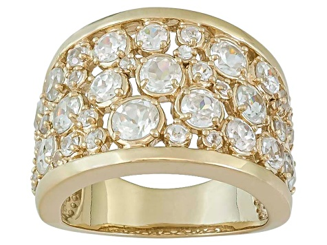 Womens Ring White Zircon 4.46ctw 18kt Yellow Gold Over Sterling Silver