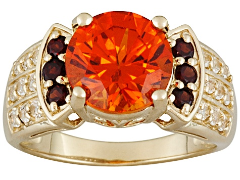 Lab Padparadscha Sapphire, Garnet And White Topaz 18kt Yellow Gold Over Sterling Silver Ring