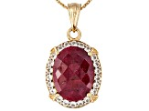 Ruby 9.86ct With 4.40ctw White Topaz 18k Yellow Gold Over Sterling Pendant/Chain