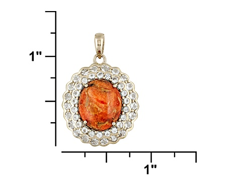 Orange Sponge Coral And White Topaz 18k Gold Over Silver Pendant