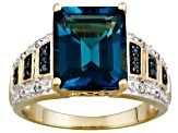 Womens Ring London Blue Topaz Blue White Diamond 18k Gold Over Silver