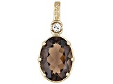 Earrings Ring Pendant Set Smoky Quartz White Topaz 18k Gold Over Silver