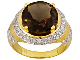 Womens Halo Ring Smoky Quartz Cubic Zirconia 6ctw 18k Gold Over Silver