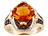 Orange Madeira Citrine 18k Gold Over Silver Ring 4.62