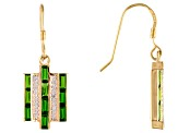 2.25ctw Chrome Diopside And .40ctw White Zircon 18k Gold Over Sterling Silver Earrings