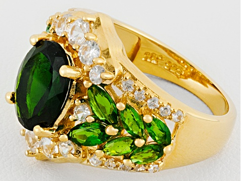4.12ctw Chrome Diopside With 1.35ctw Round White Zircon 18k Gold Over Silver Ring