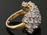 5.40ctw Round  White Zircon 18k Yellow Gold Over Sterling Silver Ring
