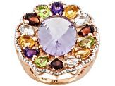 Amethyst, Aquamarine, Citrine, Garnet, And Peridot , 18k Rose Gold Over Sterling Silver Ring