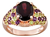 Rhodolite And Peridot 18kt Rose Gold Over Sterling Silver Ring 5.38ctw