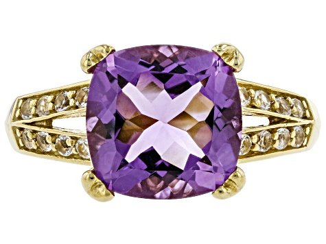 3.60ct Cushion Amethyst With .56ctw White Topaz 18k Gold Over Sterling Silver Ring