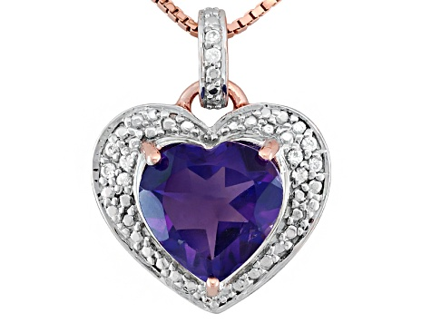 African Amethyst With Round White Zircon 18k Rose Gold Over Sterling Silver Pendant With Chain