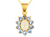 Ethiopian Opal And Tanzanite 18k Gold Over Silver Pendant With Chain 1.93ctw