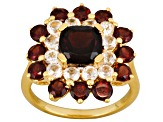 Red Garnet And White Topaz 18k Yellow Gold Over Sterling Silver Floral Ring 3.95ctw