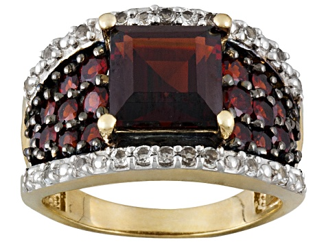 4.14ctw Vermelho Garnet™ And .46ctw White Topaz 18k Gold Over Silver Ring