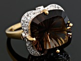 Brown Smoky Quartz 18k Yellow Gold Over Sterling Silver Ring 10.26ctw