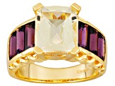 Yellow Labradorite And Rhodolite 18k Yellow Gold Over Sterling Silver Ring 5.95ctw